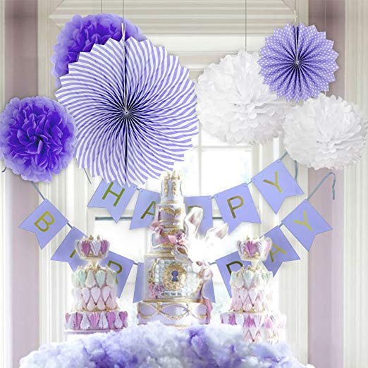 8Pcs DIY Purple Birthday Banner Flower Paper Fan Set Tissue Hanging First Birthday Party Decoration Set Event Supplies - 副本