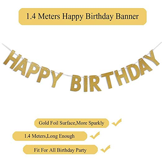 Gold Happy Birthday Balloons Decoration Set for Adult 10pcs Latex Balloons 10pcs Shiny Balloons Happy Birthday Banner Party Suppliers - 副本