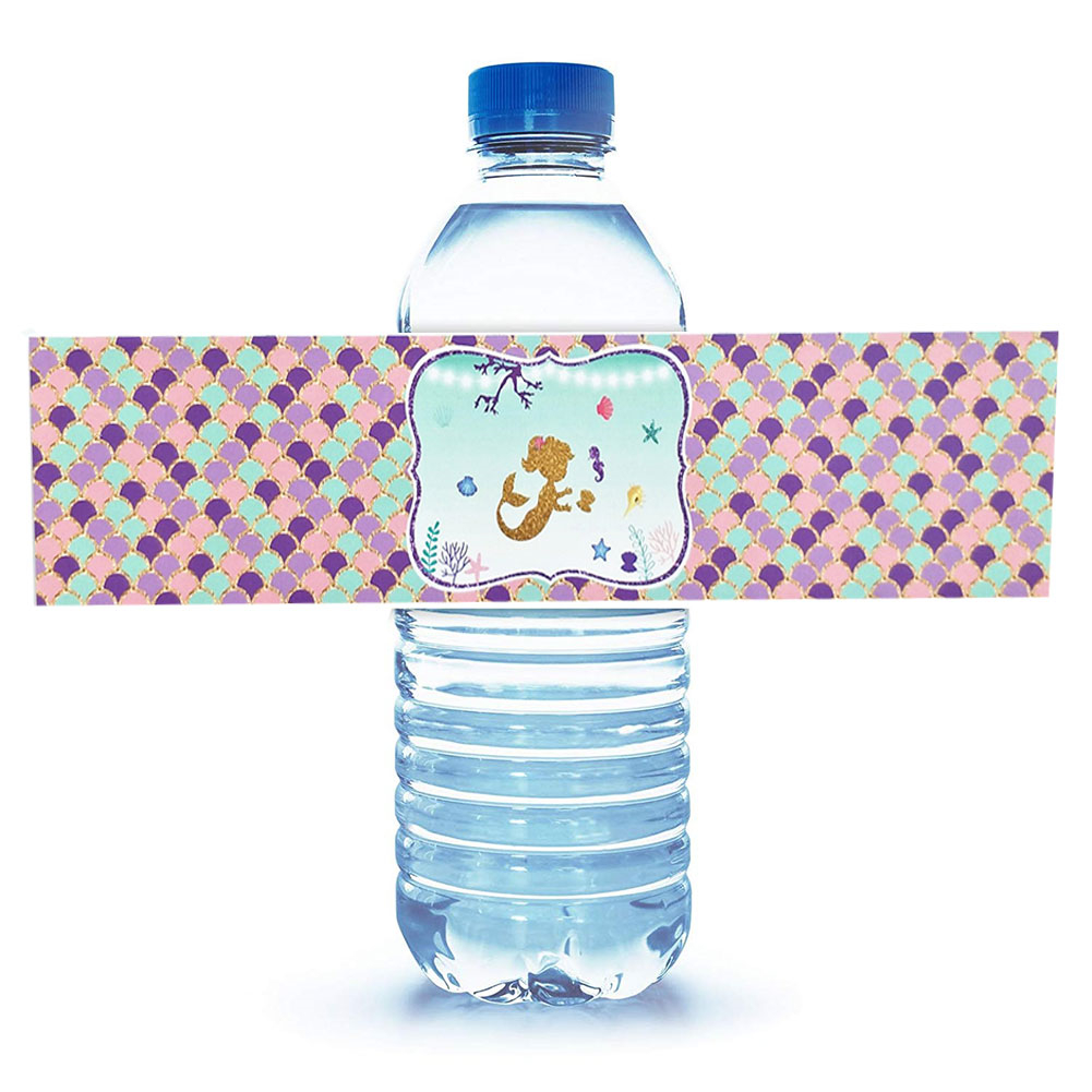 Mermaid Bottle Wraps-Happy Birthday Water Bottle Label Rainbow Mermaid Themed Party Favors, Set of 24 Waterproof Stickers