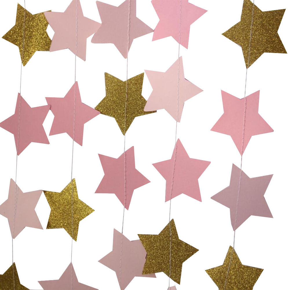 3pcs Sparkling Star Garland Bunting Decoration for Baby Shower Birthday Wedding Christmas Holiday Photo Booth Props Party Décor